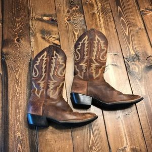 Justin Coffee Westerner Leather Boot Women's Sz 8